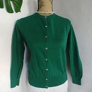 Ann Taylor LOFT Green Sweater Cardigan